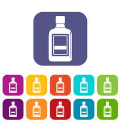 Plastic bottle icons set flat vector
