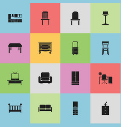 Set of 16 editable furnishings icons includes vector