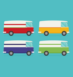 Set of color trucks isolated trucks flat design vector
