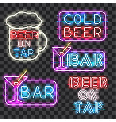 set of glowing bar neon signs vector image vector image
