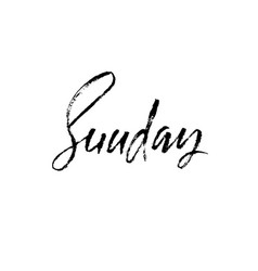 Sunday day of a week handdrawn modern brush vector