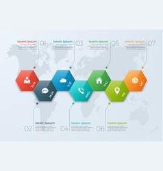 Timeline chart infographic template with 7 options vector