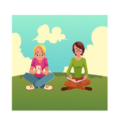 Two girls siting crossed legs reading book using vector