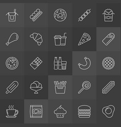 unhealthy junk food outline icons set fast vector image vector image