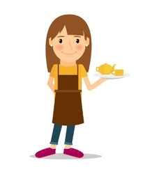 Waitress with tea pot and cup vector