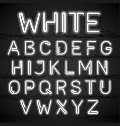 white neon light alphabet with cable vector image vector image
