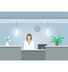 Woman receptionist in medical coat at reception vector