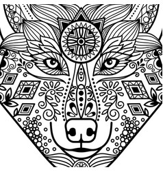 zentangle black contour wolf head vector image vector image