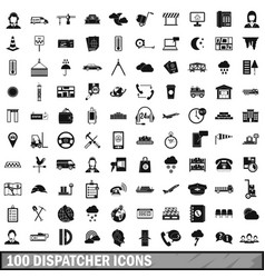 100 dispatcher icons set simple style vector