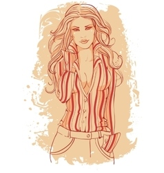Girl in a business suit with long hairs vector