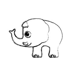 Elephant cartoon drawing childish vector