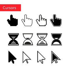 mouse cursors set pixel cursors vector image