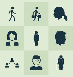 Person icons set collection of member old woman vector