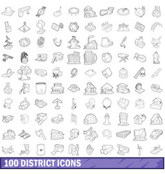 100 district icons set outline style vector