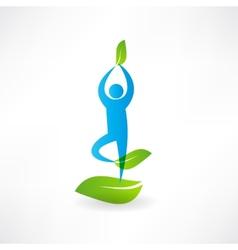 Man yoga tree icon vector image