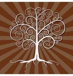 Abstract Tree on Brown Retro Background vector image