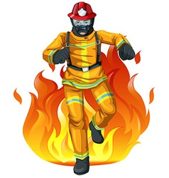A fireman and the big fire vector