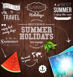 Summer design poster for summer holidays wooden vector