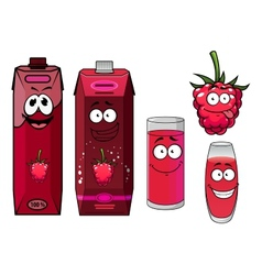 Raspberry drinks and berry in cartoon style vector