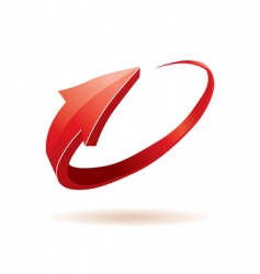 3d red glossy arrow vector image vector image
