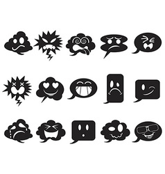 Black speech bubble smileys icons vector
