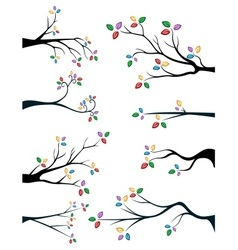Branches with cute and colorful leaves vector image