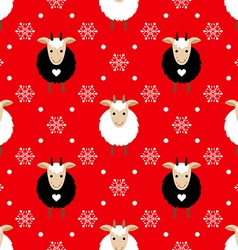 Red seamless pattern with cute goat and snowflakes vector