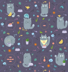 Seamless pattern cats and natural foods vector
