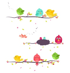 Colorful birds on beautiful trees vector