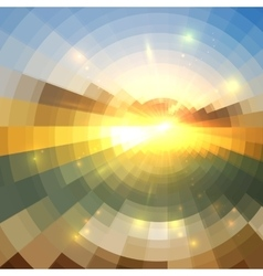 Abstract sunset effect circle technology mosaic vector