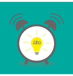 Alarm clock with yellow idea light bulb icon Flat vector image