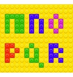 Alphabet construction lego brick blocks 3 vector
