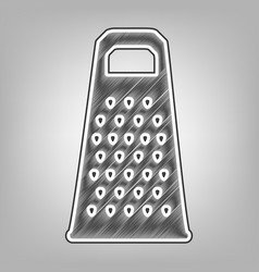 Cheese grater sign pencil sketch vector
