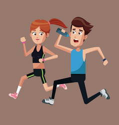 Couple running exercise healthy vector