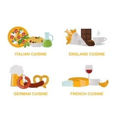 Cuisine lunch gourmet traditional food flat vector