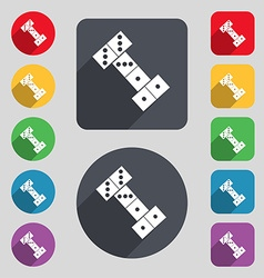 Domino icon sign a set of 12 colored buttons and a vector