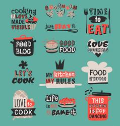 food logotype restaurant vintage design cooking vector image vector image