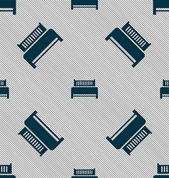Hotel bed icon sign Seamless pattern with vector image vector image