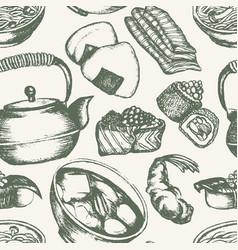japanese food - vintage hand drawn seamless vector image vector image