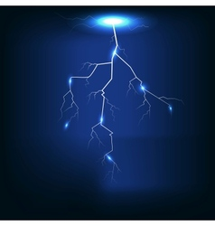 Lightning of dark blue background vector image