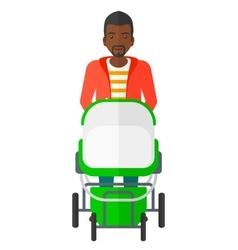 Man pushing pram vector image