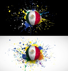 maxico flag with soccer ball dash on colorful vector image vector image