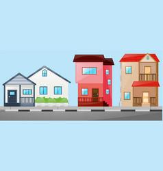 neighborhood scene with many houses vector image