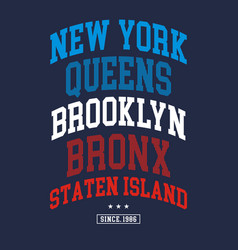 new york city typography design vector image vector image