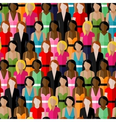 seamless pattern with a large group of girls and vector image vector image