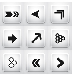 Set of square application buttons arrows vector image
