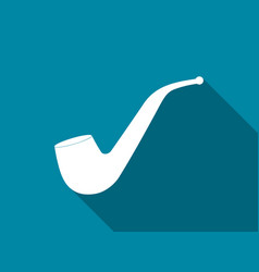 smoking pipe flat icon with long shadow vector image