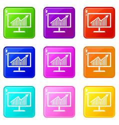 statistics on monitor set 9 vector image