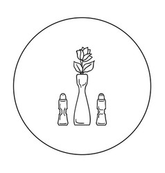 vase with flower icon in outline style isolated on vector image