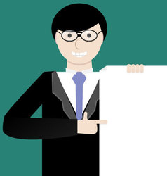 Young businessman showing a project idea or contra vector image